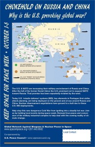 The U.S. and NATO have surrounded Russia and China with military bases and missile sites. U.S. and NATO troops are holding war exercises on the Russia border. The U.S. Air Force and Navy are provoking China in the South China Sea. These dangerous actions may esclate, intentionally or by accident, to a nuclear confrontation between nuclear weapons states. Our security, indeed the life of our planet, is being jeopardized.